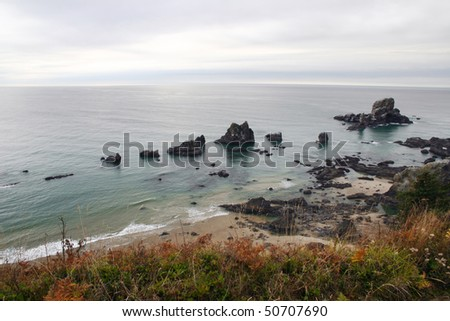 A bird view of cannon beach. - stock photo