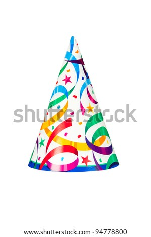 A birthday or new years party hat isolated on a white background - stock photo