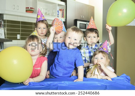 A Birthday Party only with the kids. - stock photo