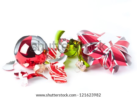 A bit of the mess left over after the chaos of Christmas morning. - stock photo
