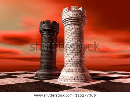A black and a white castle chess piece made of brick and mortar opposing each other on a chess board against a red cloudy sky - stock photo