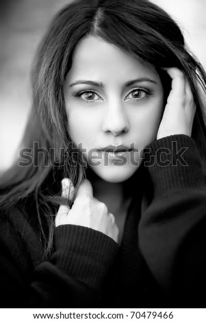 A black and white headshot of a beautiful asian woman - stock photo