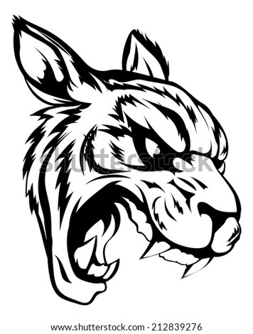 A black and white illustration of a fierce tiger animal character or sports mascot - stock photo