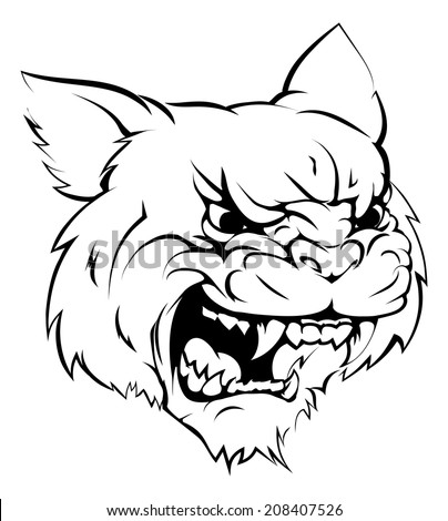 A black and white illustration of a fierce wildcat animal character or sports mascot - stock photo