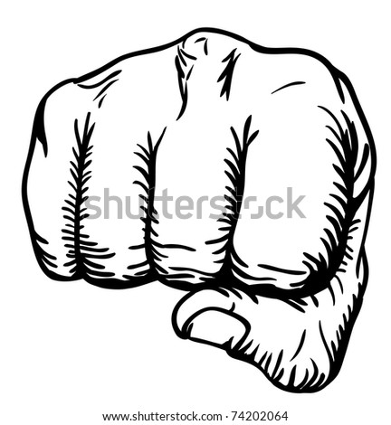 a black and white illustration of a front view of a right human hand punching towards you - stock photo