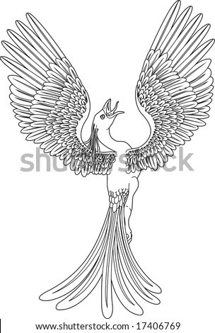 A black and white phoenix in a pose with its wings outstretched and spread widely. - stock photo