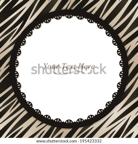 A black and white zebra striped frame with a dark lace trim. Raster. - stock photo