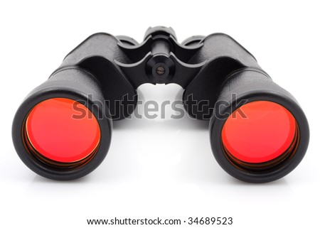 A black binoculars with ruby surface over lenses - stock photo