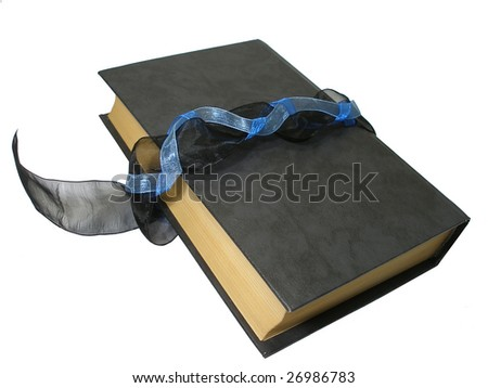 a black book with three ribbons isolated on a white background - stock photo