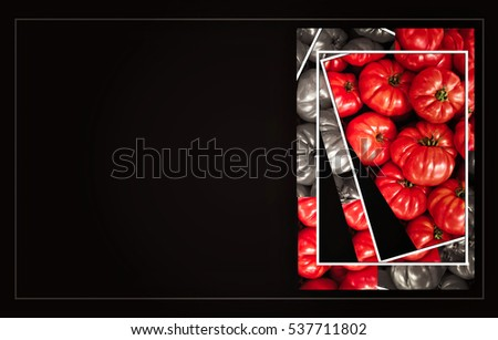 A black business card template with tomatoes, for a catering or grocery business