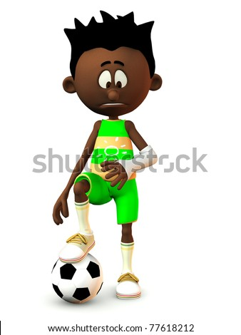 A black cartoon boy looking at his broken arm and looking very sad. He is resting his foot on a football. White background. - stock photo