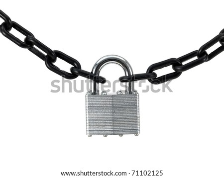A black chain and padlock isolated against a white background - stock photo