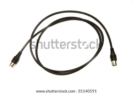 A black coaxial cable on a white background