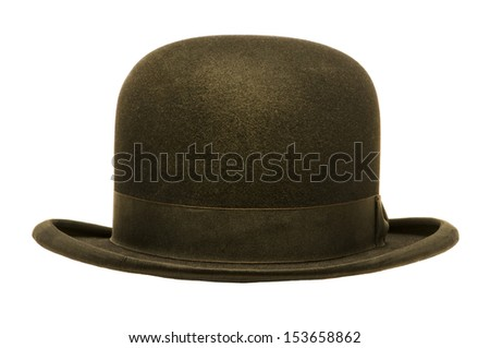 A black derby or bowler hat isolated against a white background - stock photo
