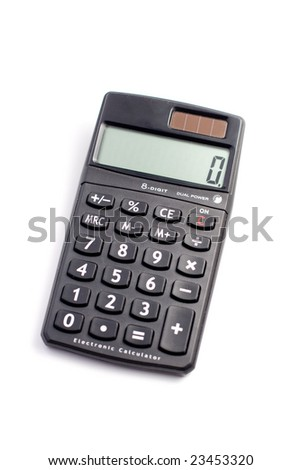 A black digital office calculator in white background modern Study studying desktop desk accessory office corporative buttons numbers display zero plus minus results keyboard electronic