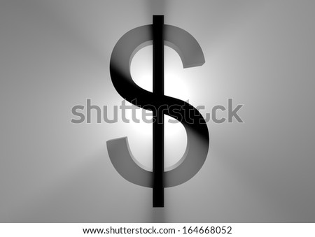 a black dollar sign in the backlight - stock photo