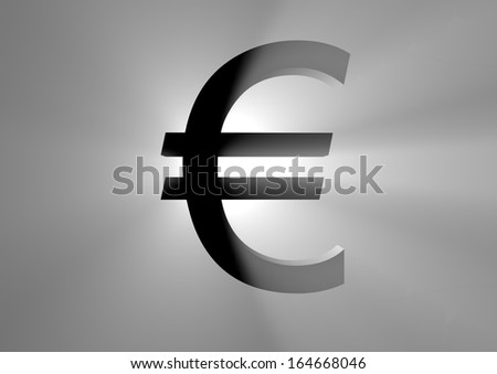 a black euro sign with light and backlight  - stock photo