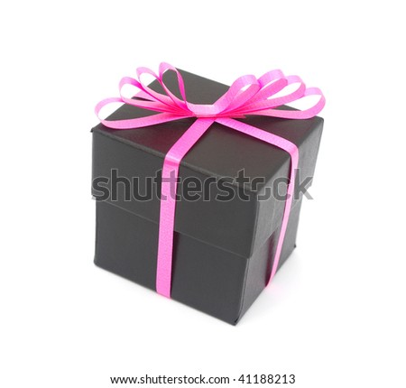A black gift with pink bow