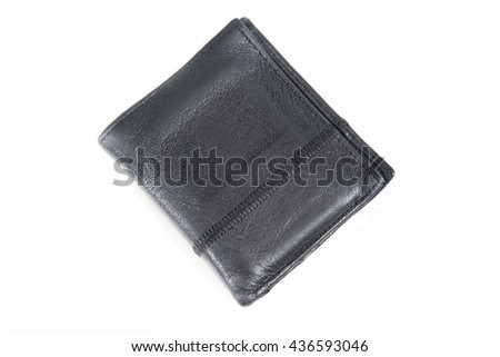 A black leather wallet for money isolated on white background - stock photo