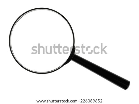 A black magnifying glass against white background.