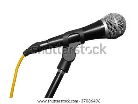 a black microphone on the sky backgrounds