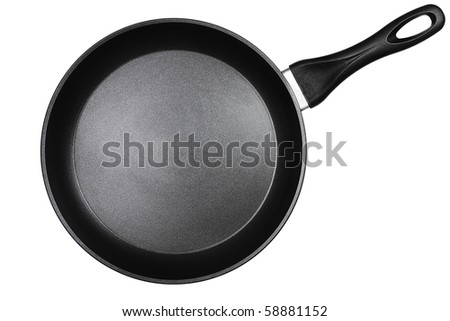 a black pan isolated on white background - stock photo