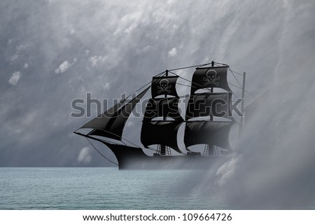 A black pirate ship sailing out from a mysterious dreamy mist in an ocean of a surreal landscape. - stock photo