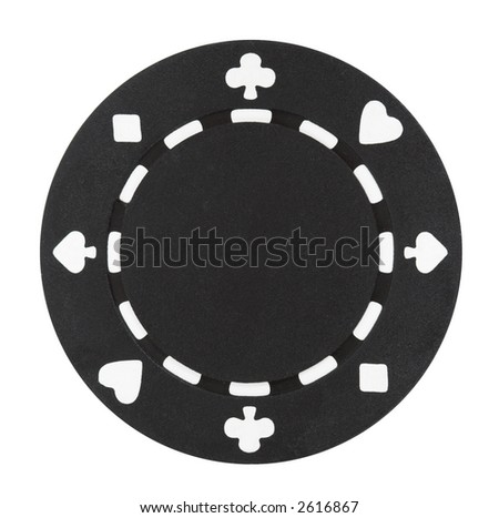 A black poker chip isolated on a white background - stock photo