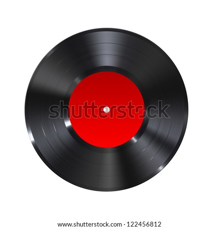 A black retro vinyl music record with red label isolated on white