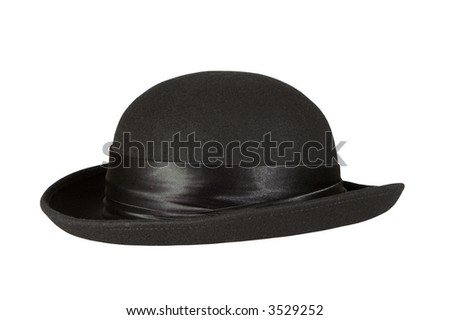 A black 1940's hat isolated on a white background. The hat has a shiny piece of material around it.