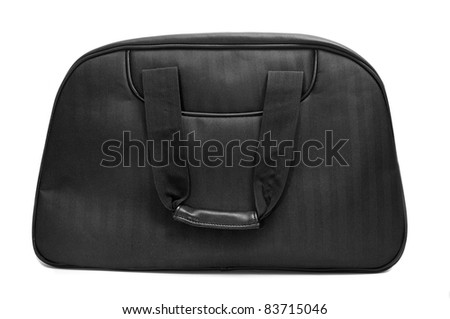 a black travel bag on a white background