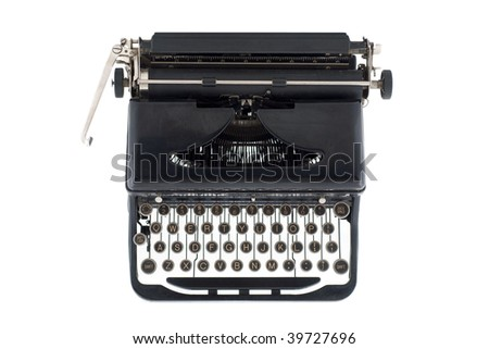 A black typewriter from the 1920s viewed from above, isolated on white - stock photo