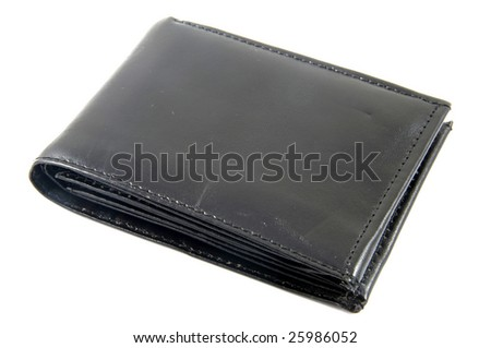 A Black Wallet isolated on a white background