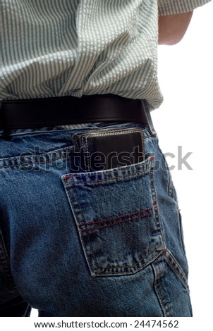 A black wallet sitting in someone's back pocket, isolated against a white background