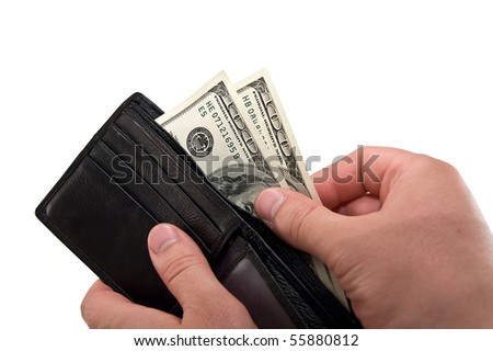 a black wallet with dollars in the hands