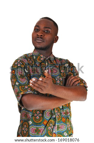 A black young man standing for white background showing with his hand.  - stock photo