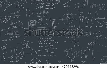 A blackboard with algebra formula. A Contemporary style.  flat design illustration isolated black background. Square layout