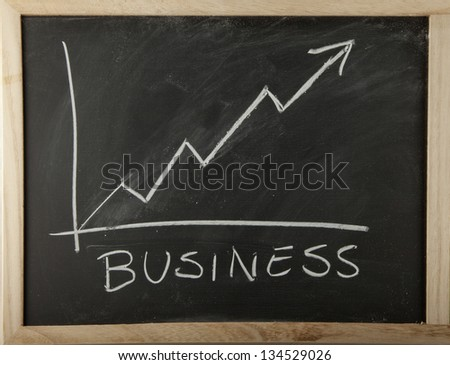 A blackboard with graph of increasing business