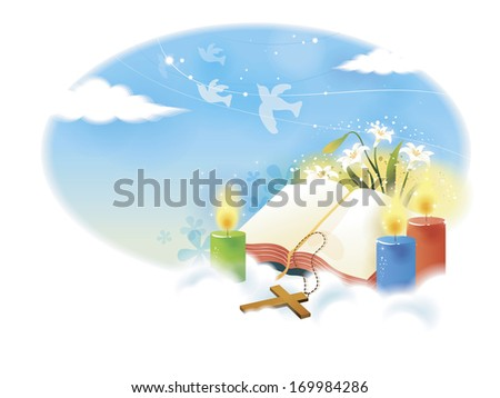 A blank book surrounded by candles and a cross in the sky on a cloud. - stock photo