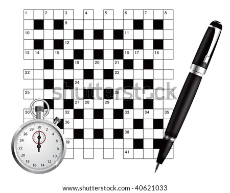 A blank crossword with pen and stopwatch - stock photo