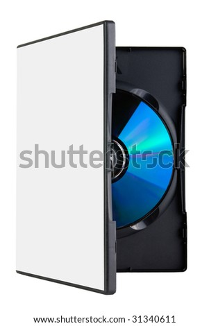 A blank DVD in a plastic cover, on white background - stock photo