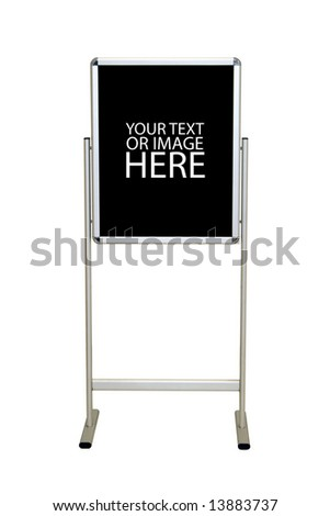 A blank easel stand sign.  Customize this with your message - includes clipping path. - stock photo