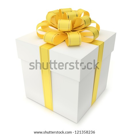 A blank gift box with ribbon and bow isolated on white background. Computer generated image with clipping path.
