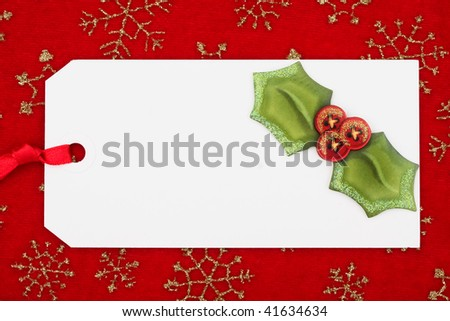 A blank gift tag on a wrapping paper background, gift tag