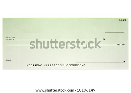 A blank green business check shot straight on without name and address and has fake numbers. - stock photo