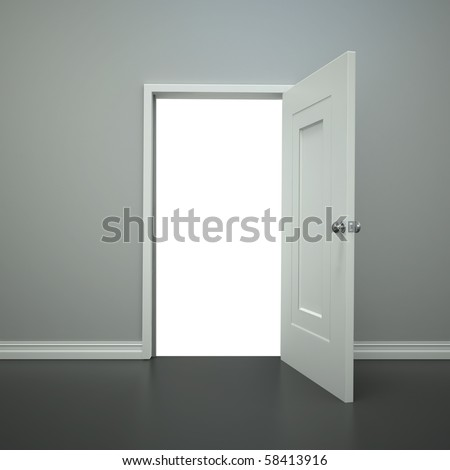 A blank open doorway with a clippling path for you to add wanything you want. - stock photo