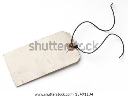 A blank paper luggage tag with the bow undone isolated on white with shadow, retro