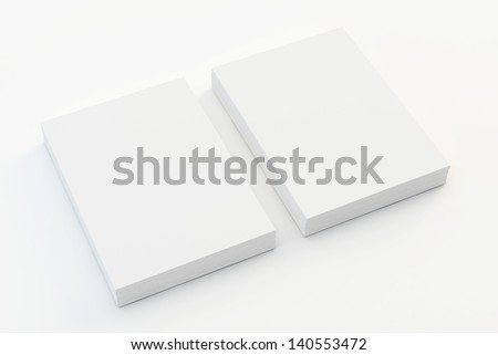 A4 Blank paper stack isolated on white - stock photo