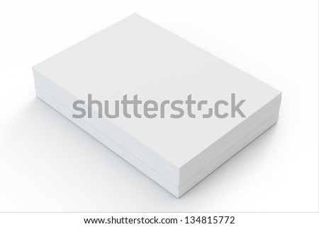 A4 Blank paper stack with soft shadows  isolated on white - stock photo
