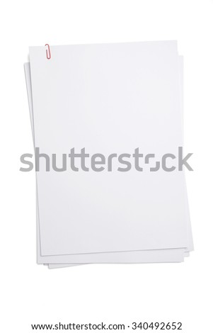 A4 blank paper with red paper clip isolated on white background. - stock photo